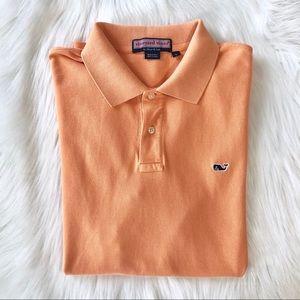 Vineyard Vines Orange Short Sleeve Polo Shirt Sz L